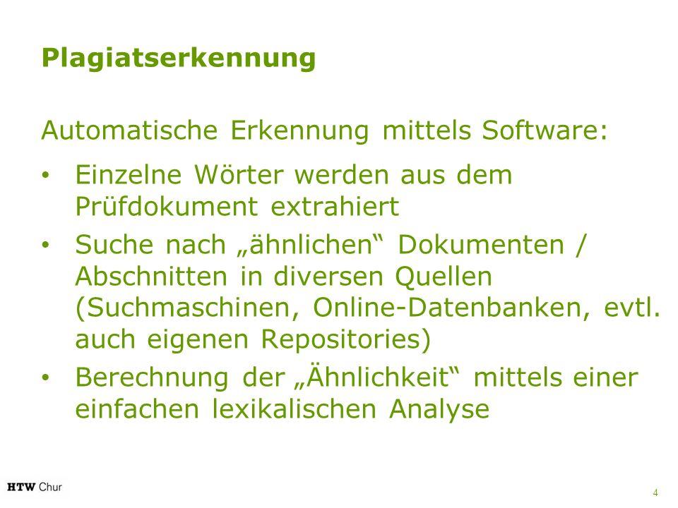 Plagiatserkennung Automatische Erkennung mittels Software: Einzelne Wörter werden aus dem Prüfdokument extrahiert.