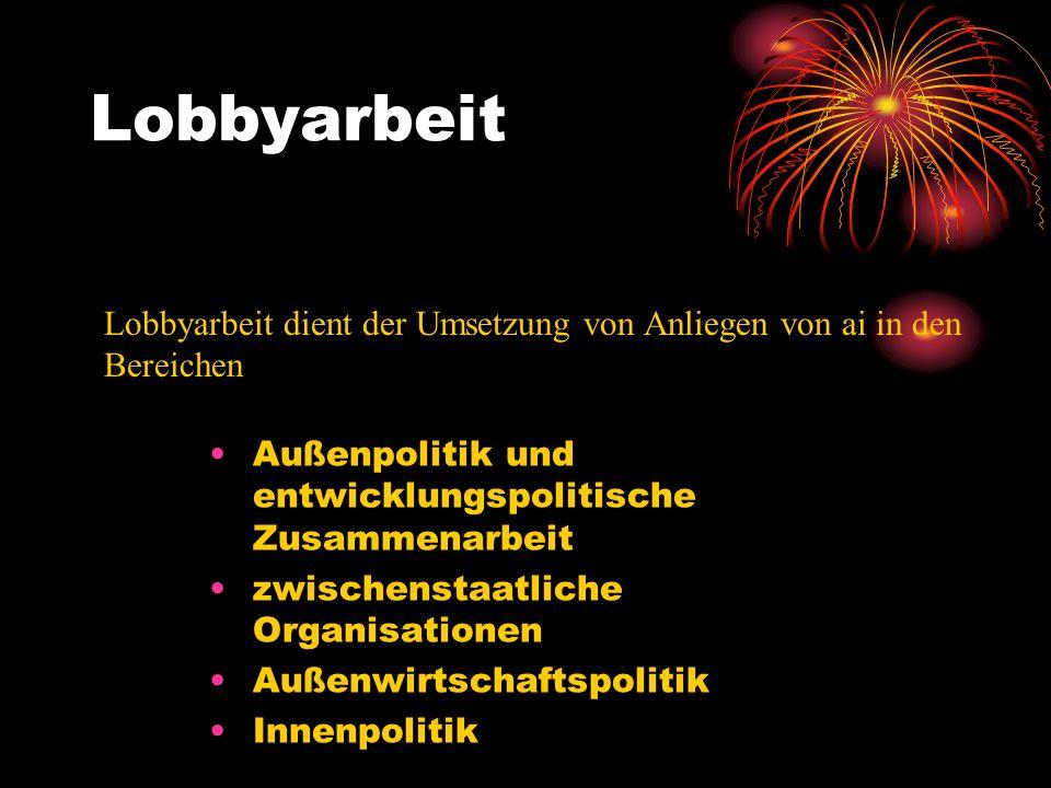 Lobbyarbeit Lobbyarbeit dient der Umsetzung von Anliegen von ai in den Bereichen. Außenpolitik und entwicklungspolitische Zusammenarbeit.