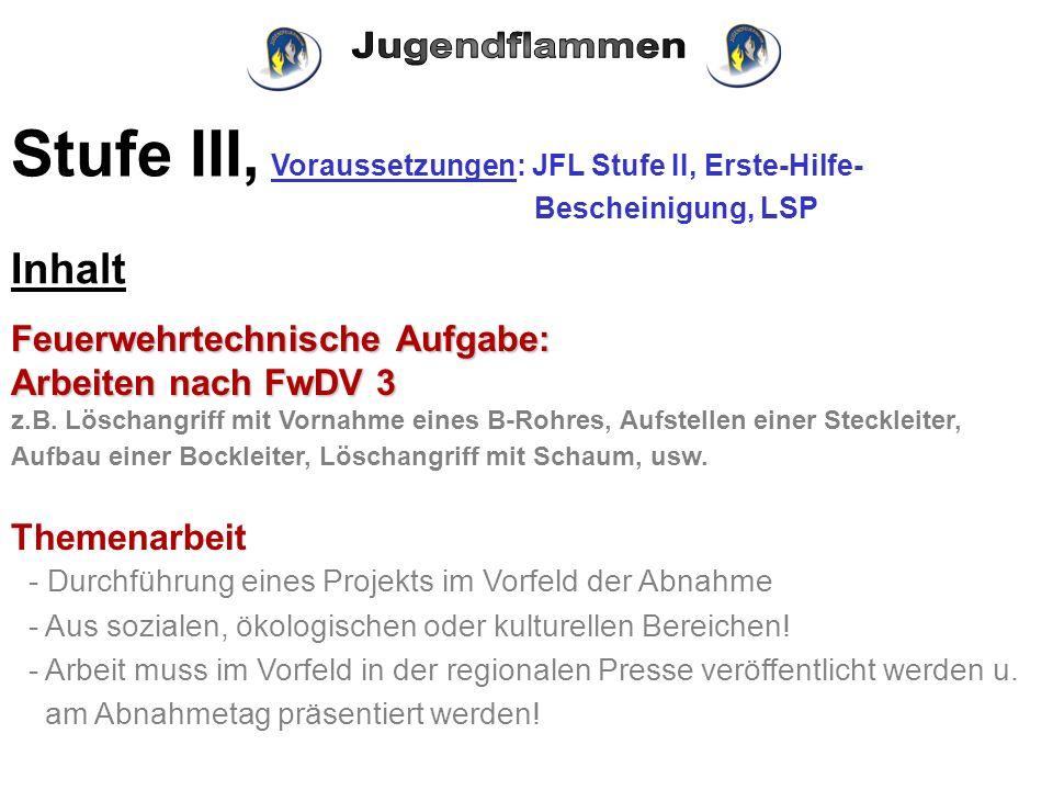 Stufe III, Voraussetzungen: JFL Stufe II, Erste-Hilfe-