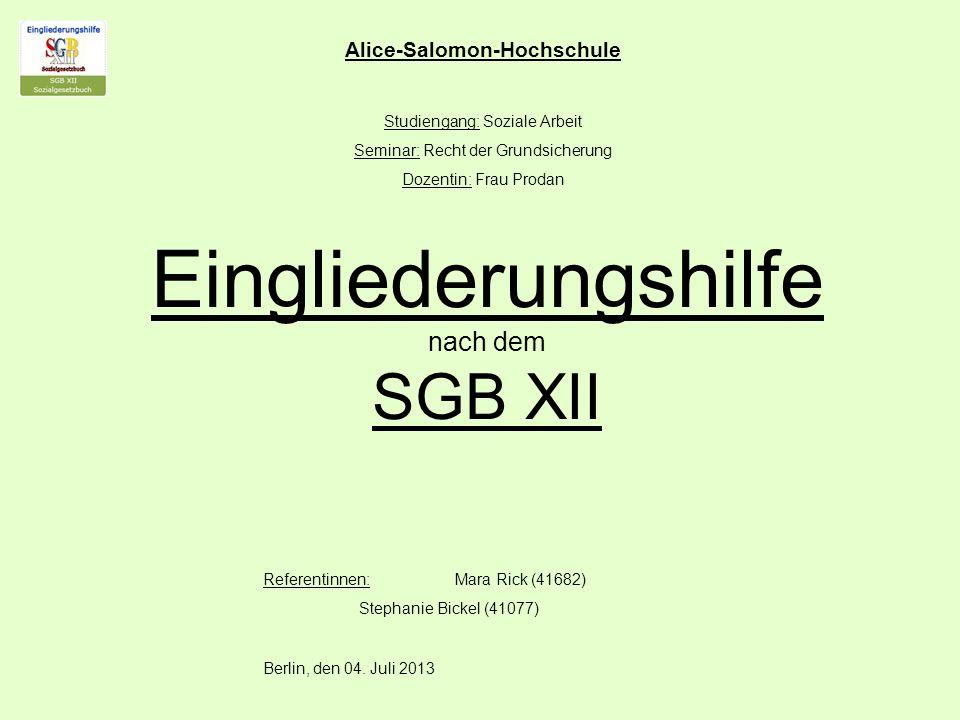 Eingliederungshilfe nach dem SGB XII