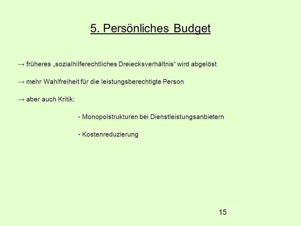 """5. Persönliches Budget → früheres """"sozialhilferechtliches Dreiecksverhältnis wird abgelöst. → mehr Wahlfreiheit für die leistungsberechtigte Person."""