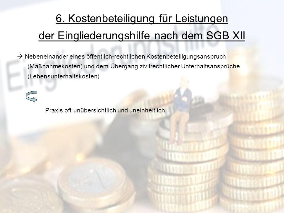 6. Kostenbeteiligung für Leistungen der Eingliederungshilfe nach dem SGB XII