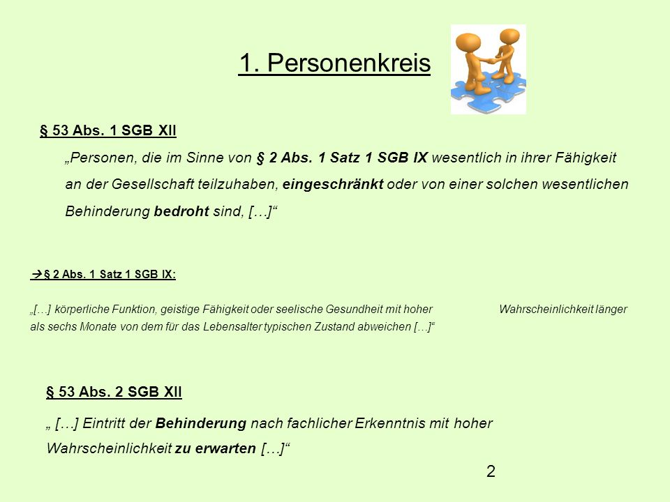 1. Personenkreis § 53 Abs. 1 SGB XII