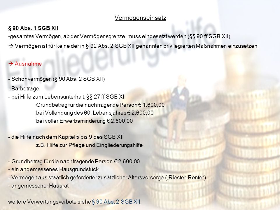 Vermögenseinsatz § 90 Abs. 1 SGB XII