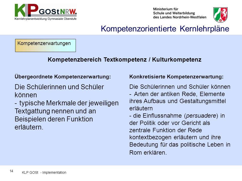 Kompetenzbereich Textkompetenz / Kulturkompetenz