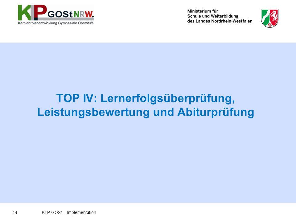 TOP IV: Lernerfolgsüberprüfung, Leistungsbewertung und Abiturprüfung