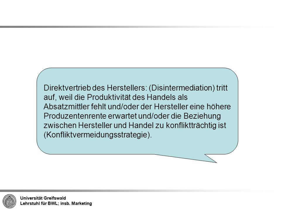 Direktvertrieb des Herstellers: (Disintermediation) tritt auf, weil die Produktivität des Handels als Absatzmittler fehlt und/oder der Hersteller eine höhere Produzentenrente erwartet und/oder die Beziehung zwischen Hersteller und Handel zu konfliktträchtig ist (Konfliktvermeidungsstrategie).