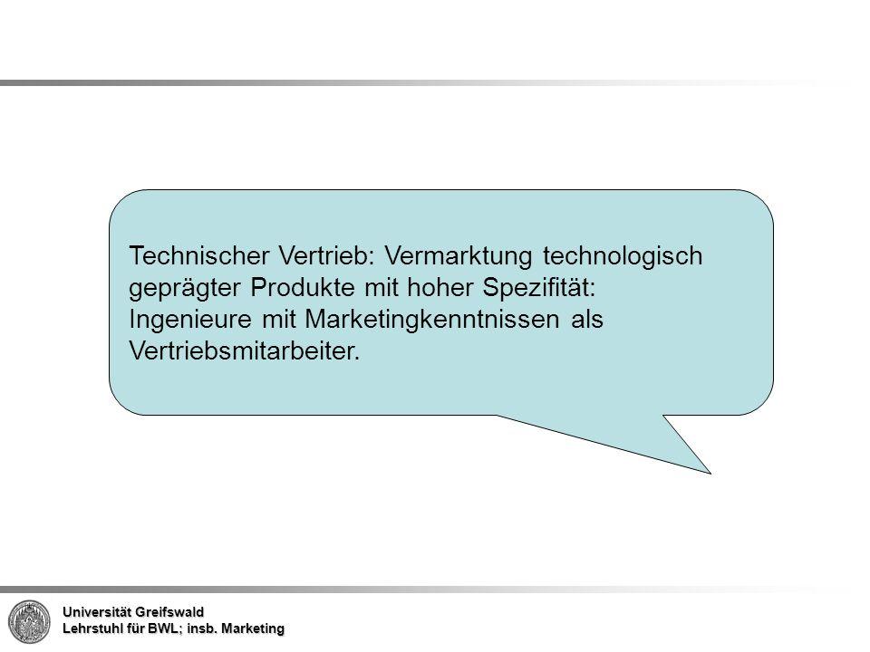 Technischer Vertrieb: Vermarktung technologisch geprägter Produkte mit hoher Spezifität: