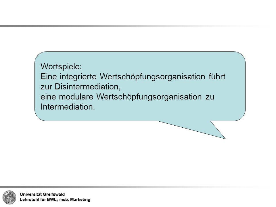 Wortspiele: Eine integrierte Wertschöpfungsorganisation führt zur Disintermediation, eine modulare Wertschöpfungsorganisation zu Intermediation.