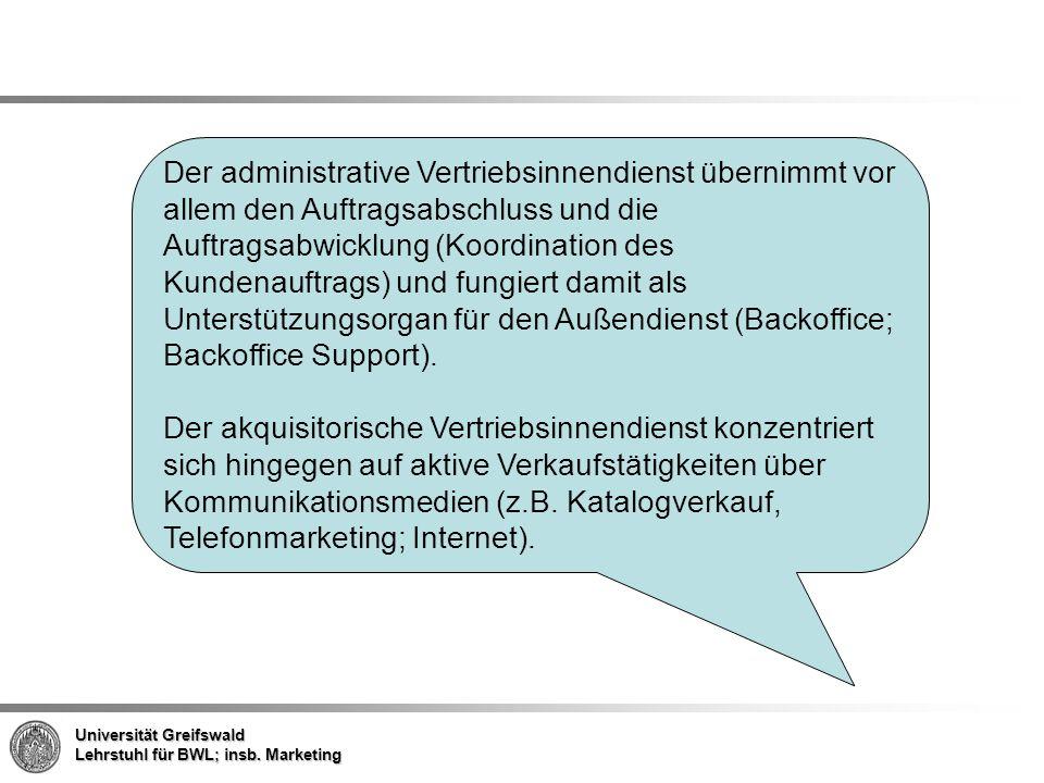 Der administrative Vertriebsinnendienst übernimmt vor allem den Auftragsabschluss und die Auftragsabwicklung (Koordination des Kundenauftrags) und fungiert damit als Unterstützungsorgan für den Außendienst (Backoffice; Backoffice Support).