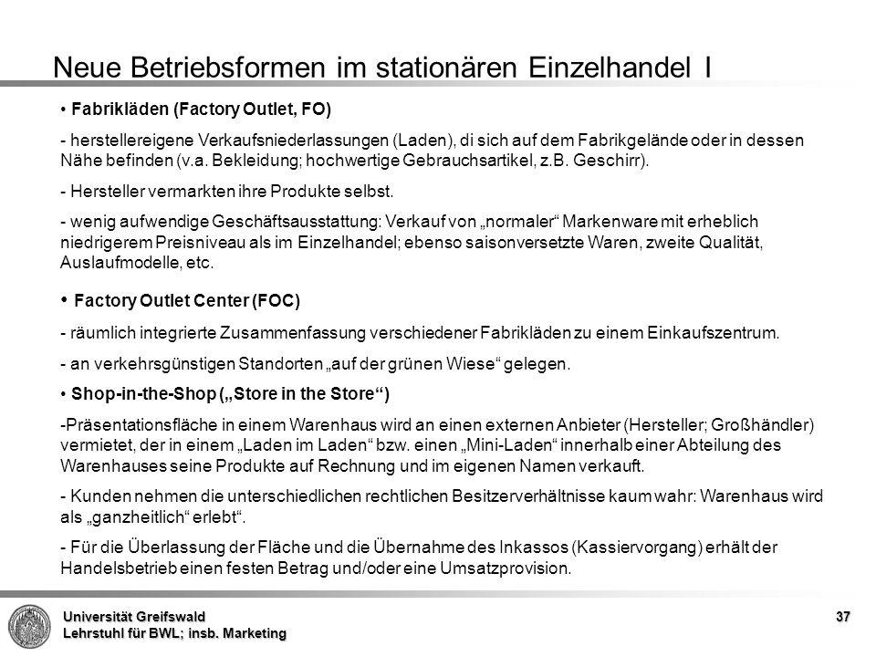 Neue Betriebsformen im stationären Einzelhandel I