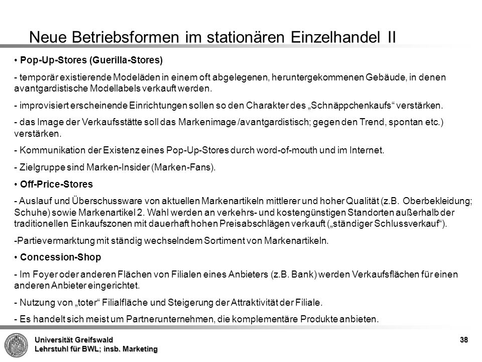 Neue Betriebsformen im stationären Einzelhandel II