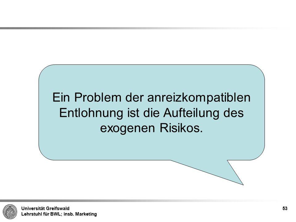 Ein Problem der anreizkompatiblen Entlohnung ist die Aufteilung des exogenen Risikos.