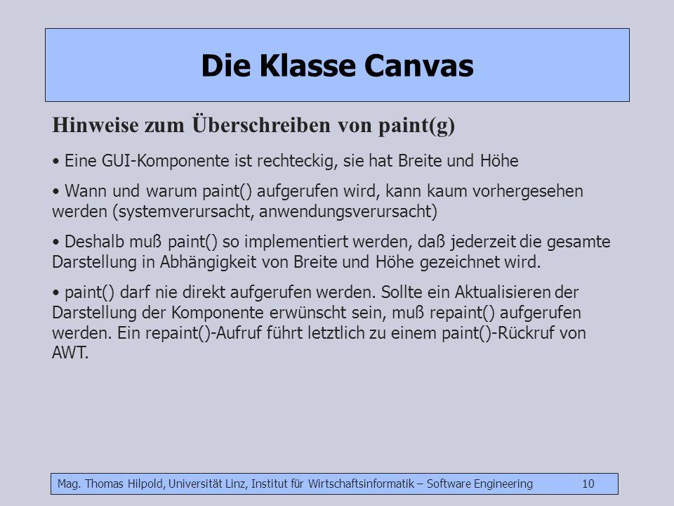 Die Klasse Canvas Hinweise zum Überschreiben von paint(g)