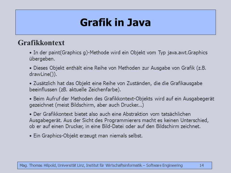 Grafik in Java Grafikkontext