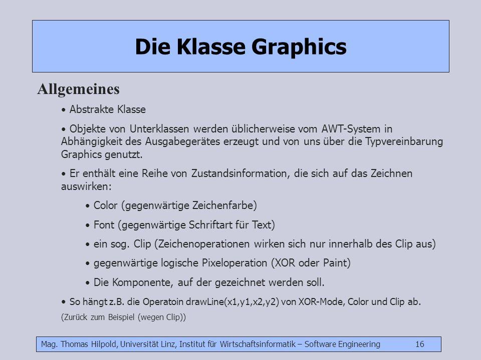 Die Klasse Graphics Allgemeines Abstrakte Klasse