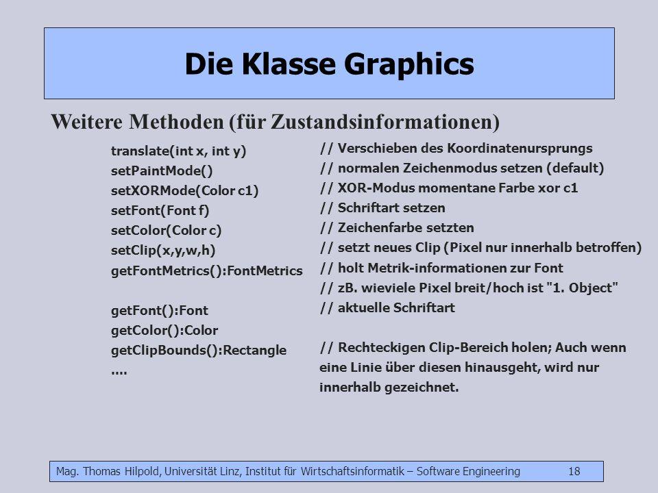 Die Klasse Graphics Weitere Methoden (für Zustandsinformationen)