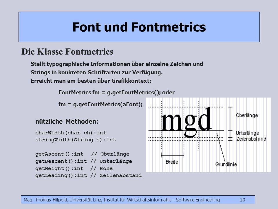 Font und Fontmetrics Die Klasse Fontmetrics nützliche Methoden: