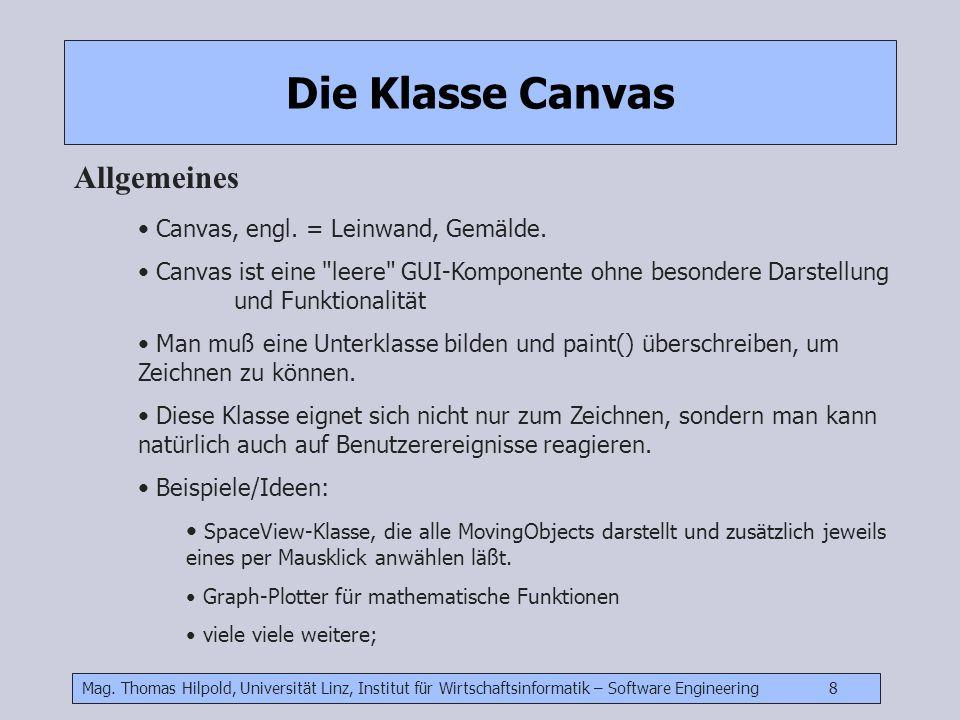 Die Klasse Canvas Allgemeines Canvas, engl. = Leinwand, Gemälde.