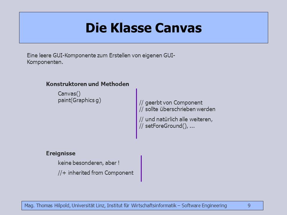 Die Klasse Canvas Eine leere GUI-Komponente zum Erstellen von eigenen GUI-Komponenten. Konstruktoren und Methoden.