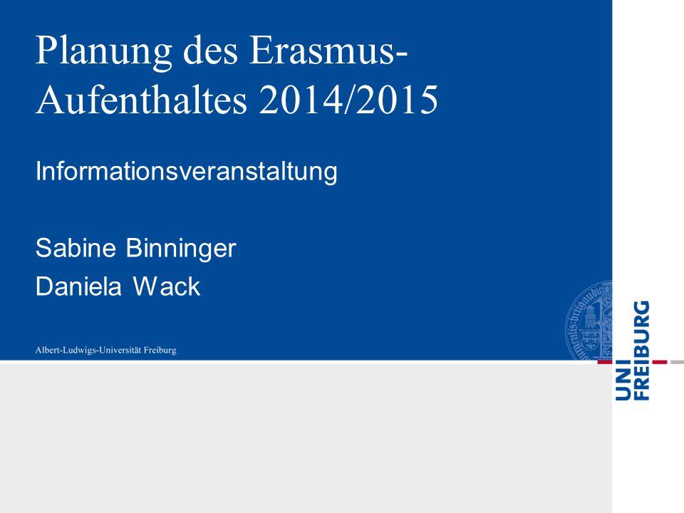 Planung des Erasmus-Aufenthaltes 2014/2015