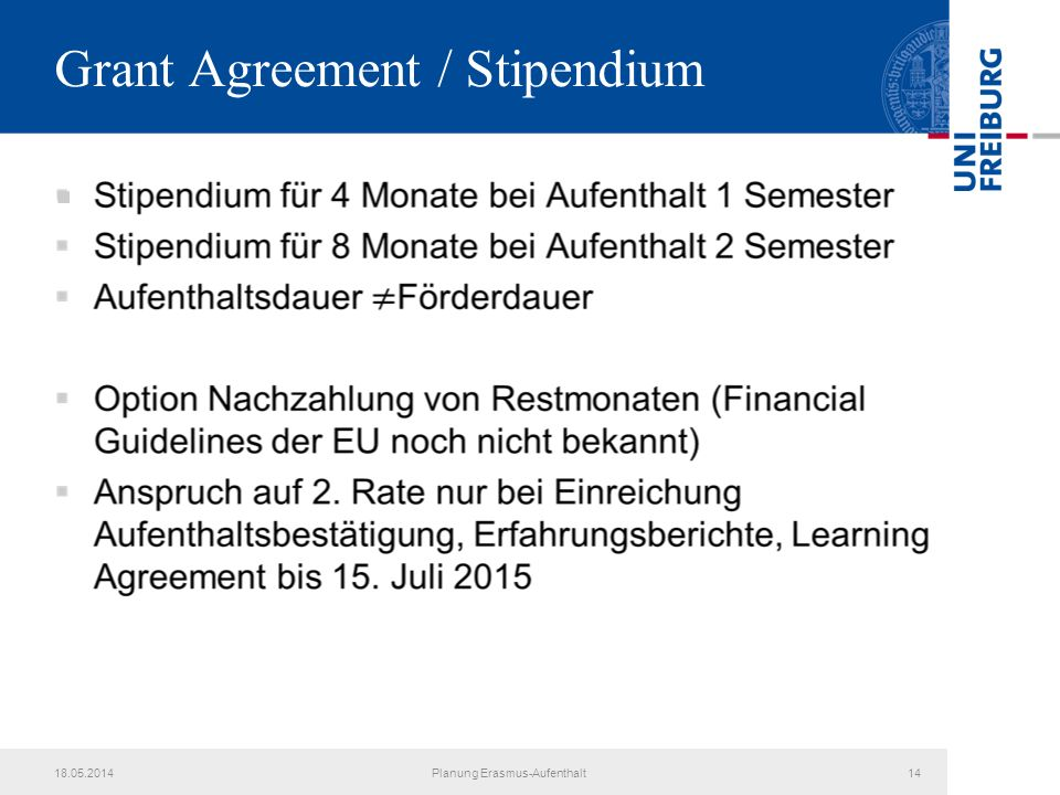 Grant Agreement / Stipendium