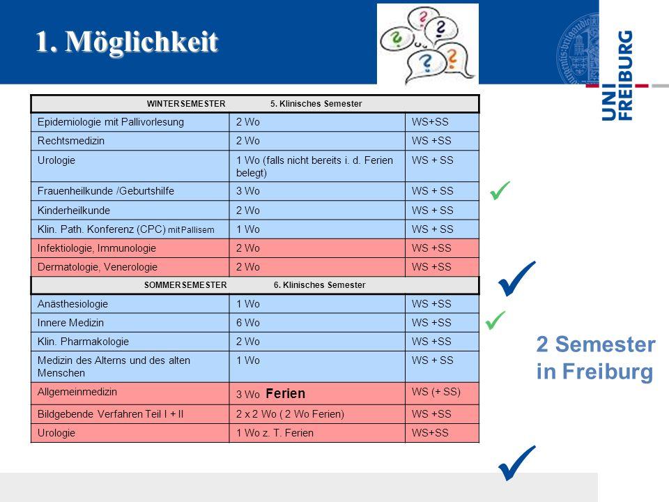  1. Möglichkeit  2 Semester in Freiburg