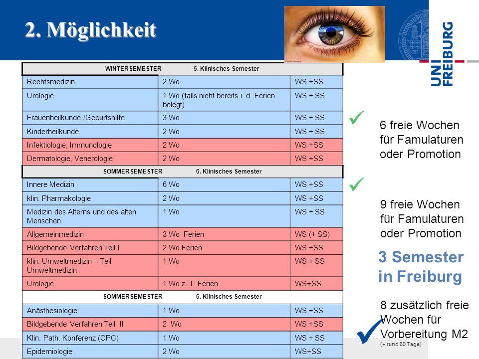 2. Möglichkeit  3 Semester in Freiburg