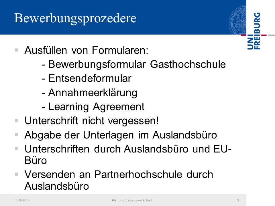Planung Erasmus-Aufenthalt
