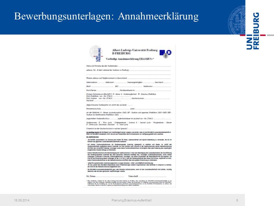 Bewerbungsunterlagen: Annahmeerklärung