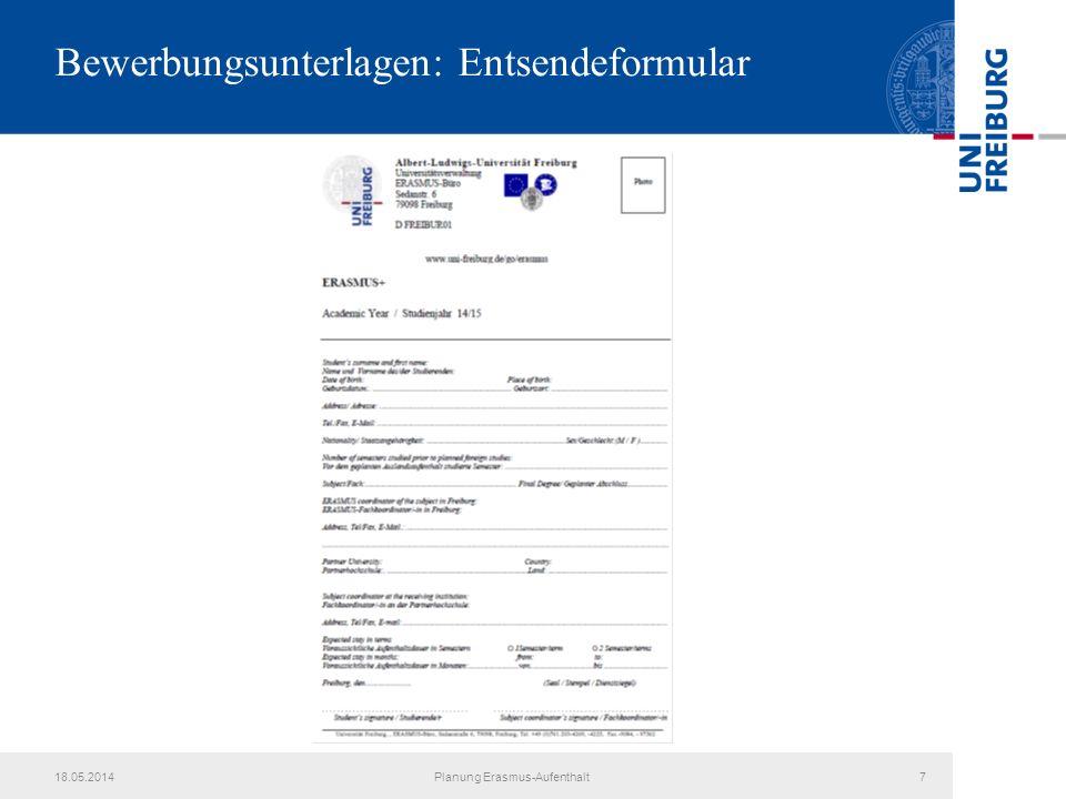 Bewerbungsunterlagen: Entsendeformular