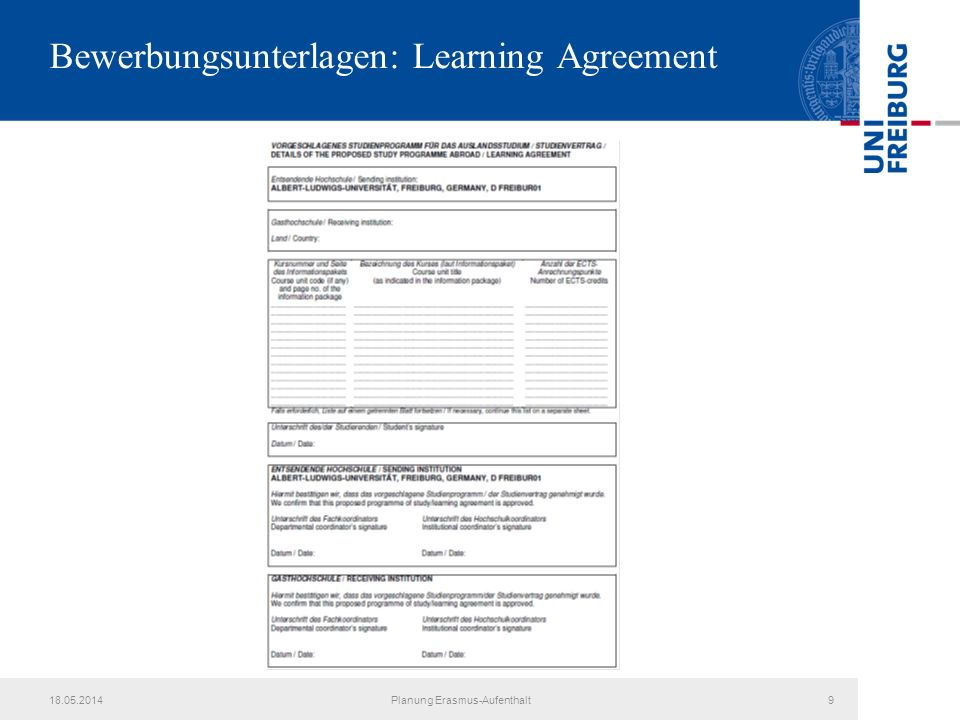 Bewerbungsunterlagen: Learning Agreement