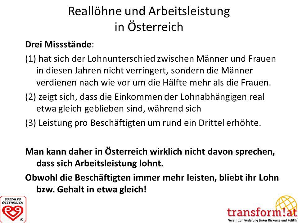 Reallöhne und Arbeitsleistung in Österreich