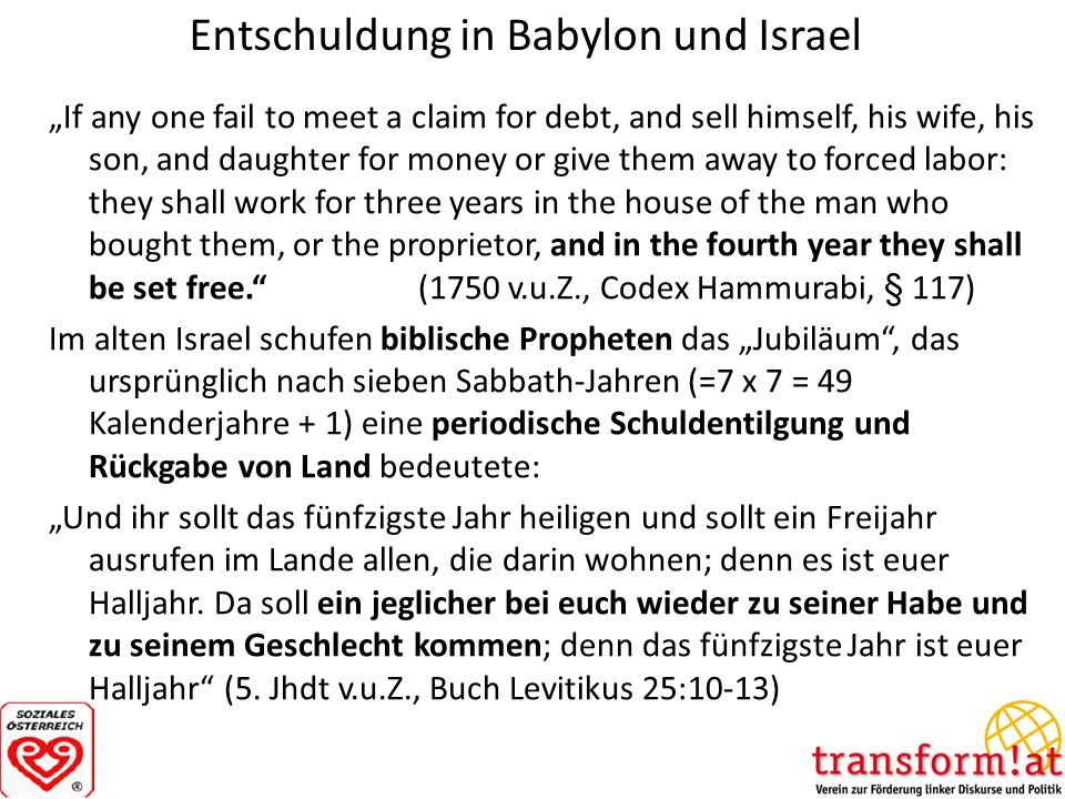 Entschuldung in Babylon und Israel