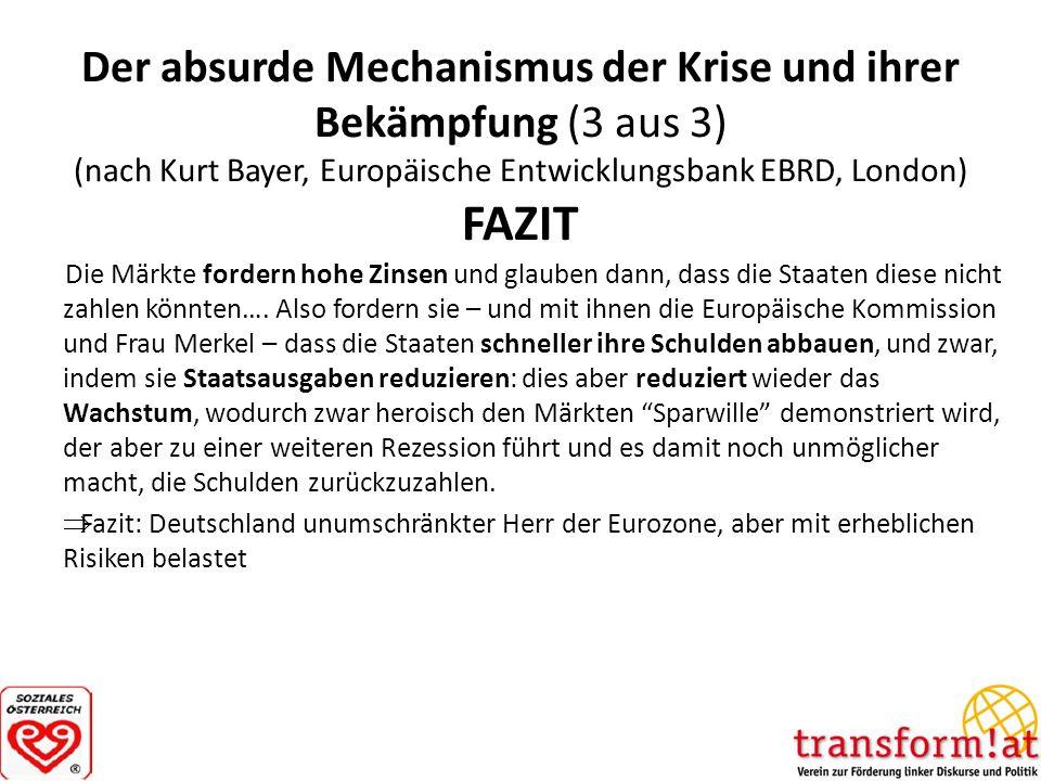 Der absurde Mechanismus der Krise und ihrer Bekämpfung (3 aus 3) (nach Kurt Bayer, Europäische Entwicklungsbank EBRD, London) FAZIT