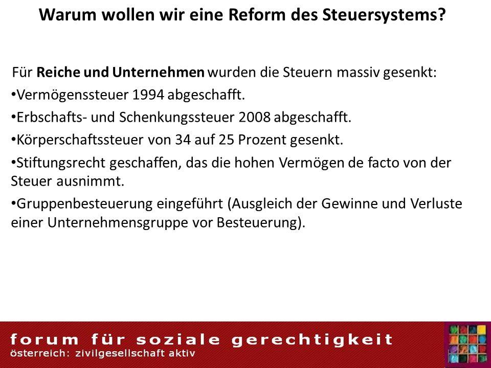 Warum wollen wir eine Reform des Steuersystems