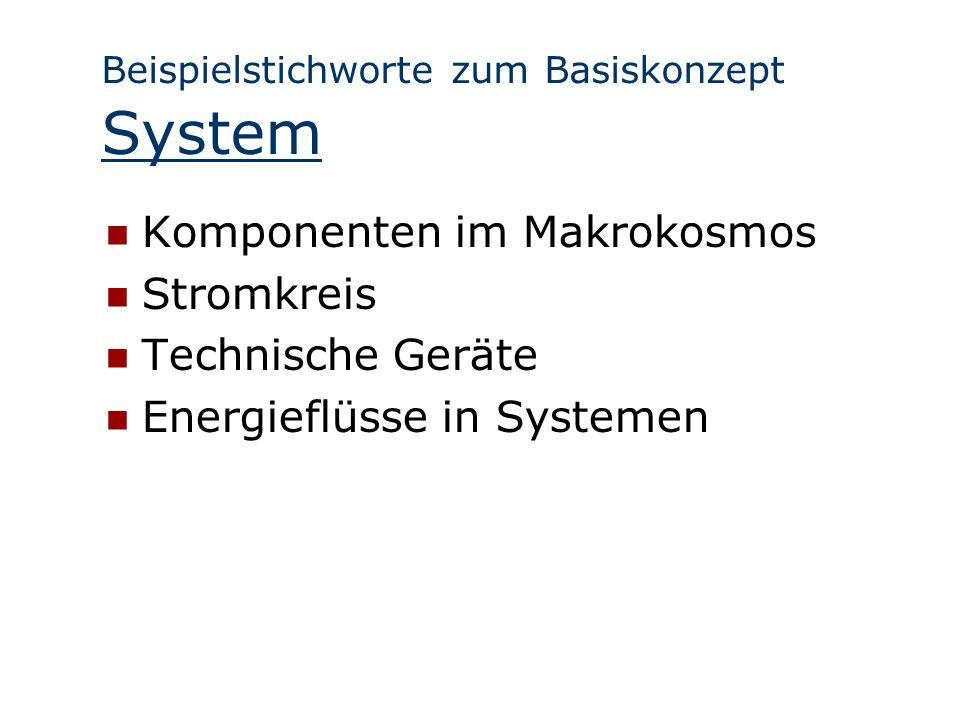 Beispielstichworte zum Basiskonzept System