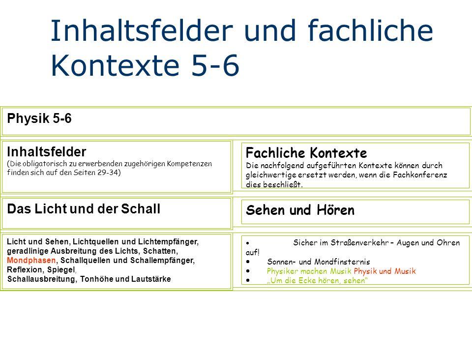 Inhaltsfelder und fachliche Kontexte 5-6