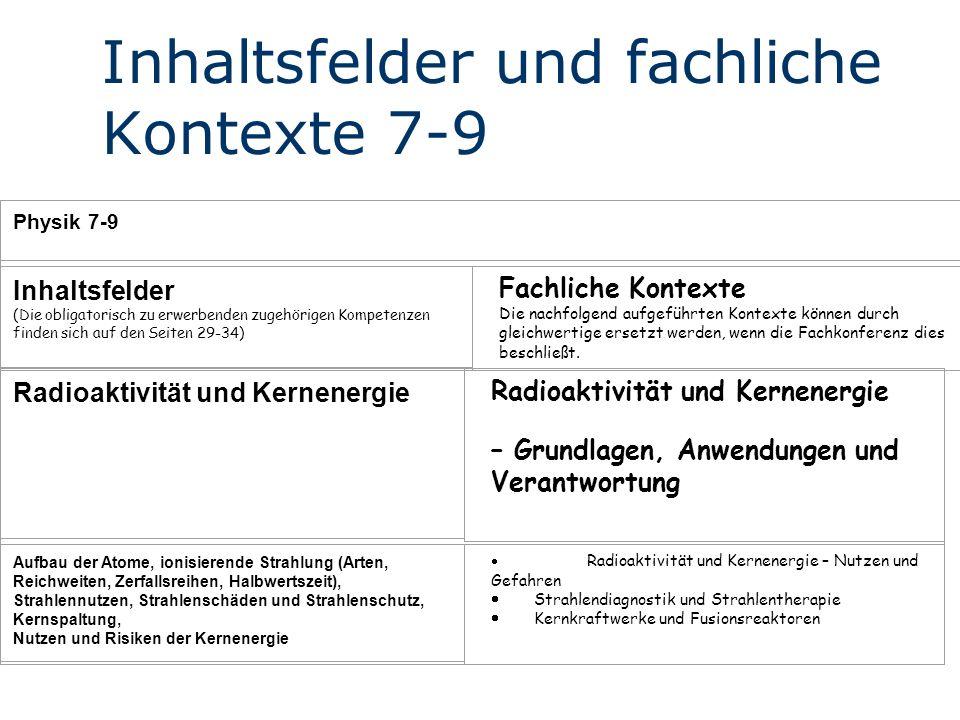 Inhaltsfelder und fachliche Kontexte 7-9