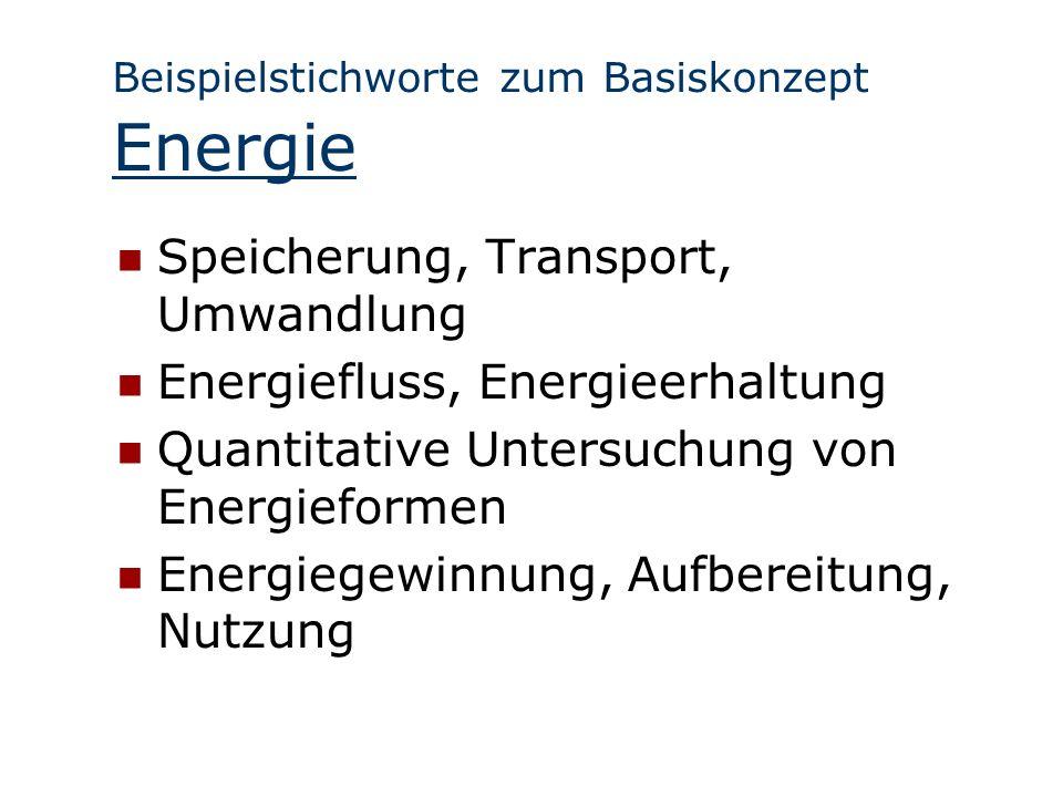 Beispielstichworte zum Basiskonzept Energie