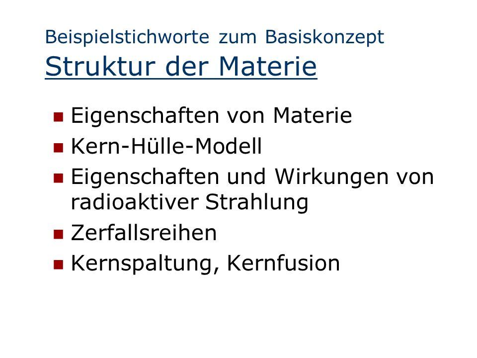 Beispielstichworte zum Basiskonzept Struktur der Materie