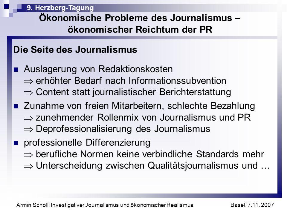 Ökonomische Probleme des Journalismus – ökonomischer Reichtum der PR