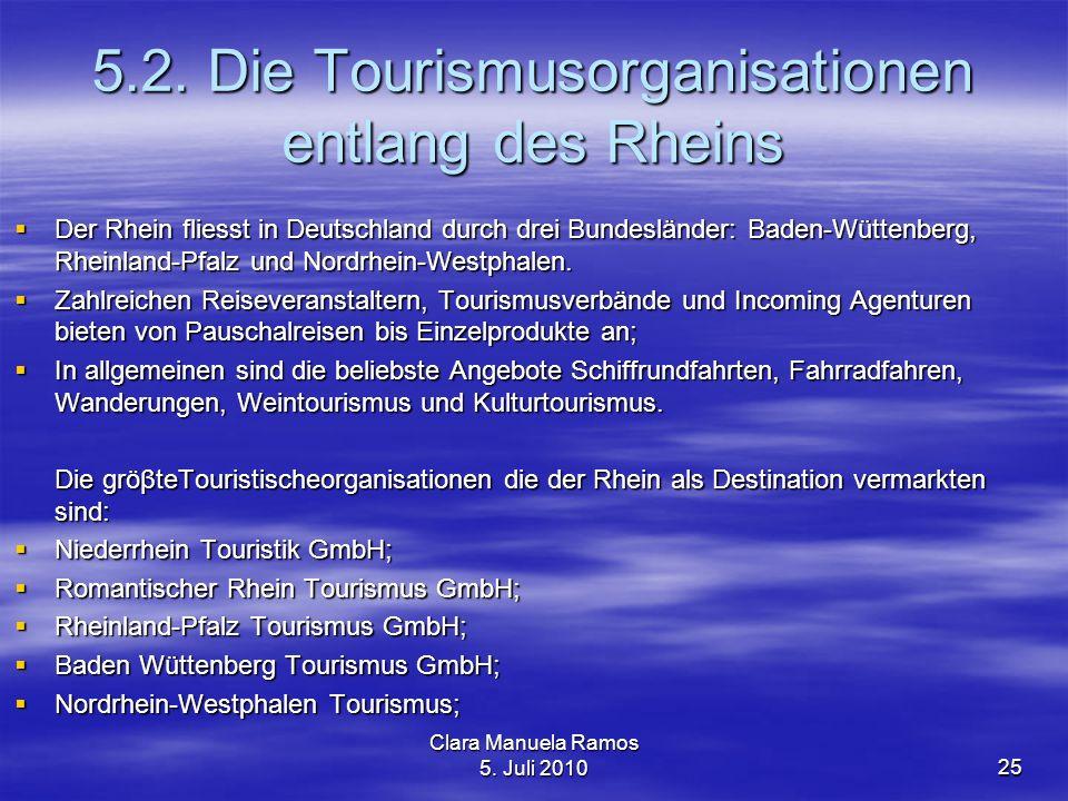 5.2. Die Tourismusorganisationen entlang des Rheins