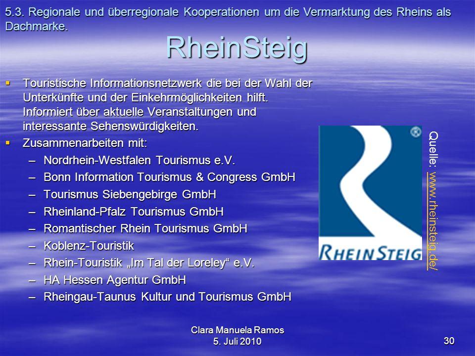 5.3. Regionale und überregionale Kooperationen um die Vermarktung des Rheins als Dachmarke.