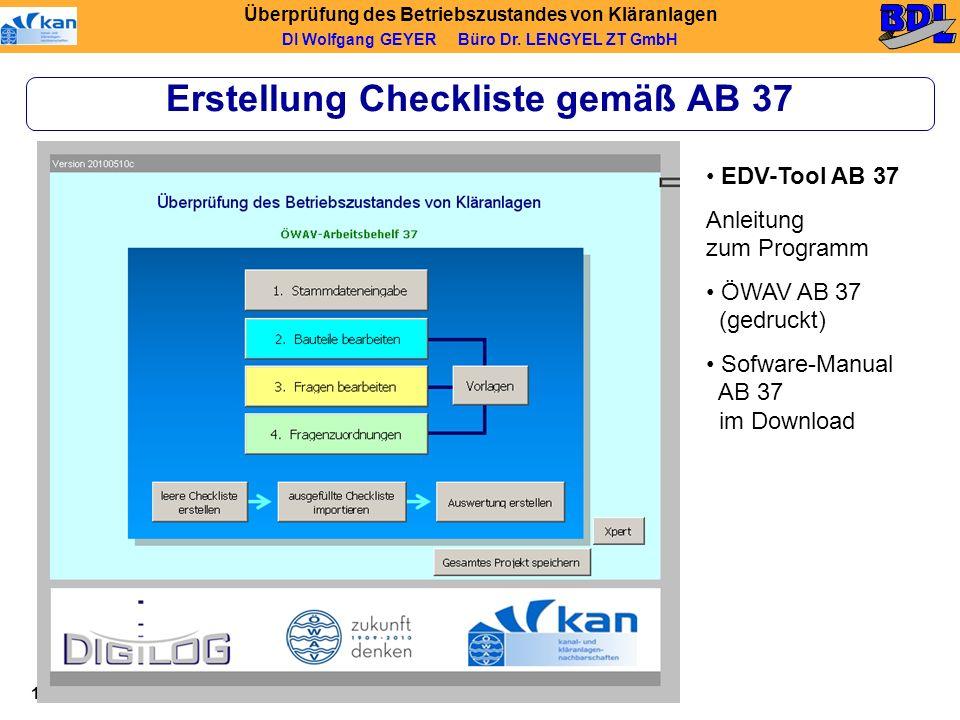 Erstellung Checkliste gemäß AB 37