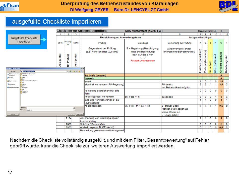 ausgefüllte Checkliste importieren