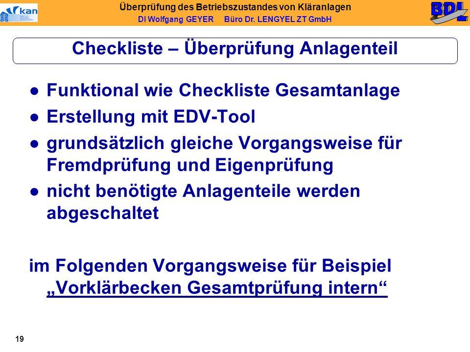 Checkliste – Überprüfung Anlagenteil