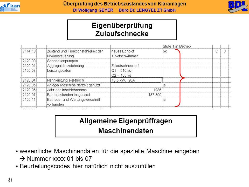 Eigenüberprüfung Zulaufschnecke Allgemeine Eigenprüffragen