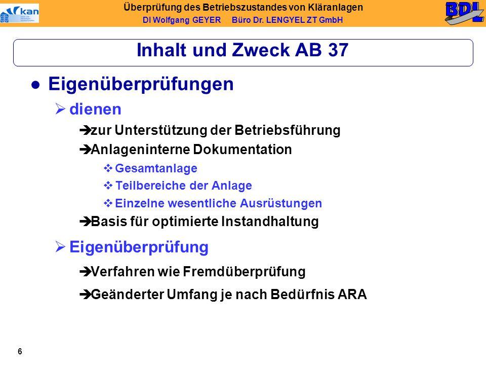 Inhalt und Zweck AB 37 Eigenüberprüfungen dienen Eigenüberprüfung