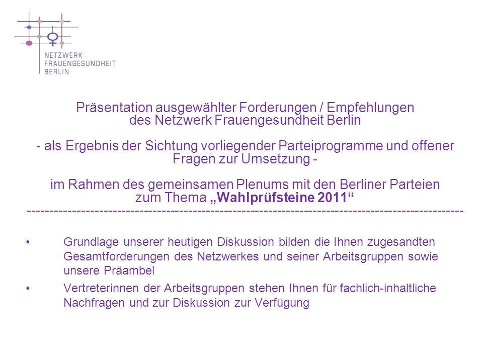 """Präsentation ausgewählter Forderungen / Empfehlungen des Netzwerk Frauengesundheit Berlin - als Ergebnis der Sichtung vorliegender Parteiprogramme und offener Fragen zur Umsetzung - im Rahmen des gemeinsamen Plenums mit den Berliner Parteien zum Thema """"Wahlprüfsteine 2011 --------------------------------------------------------------------------------------------------"""